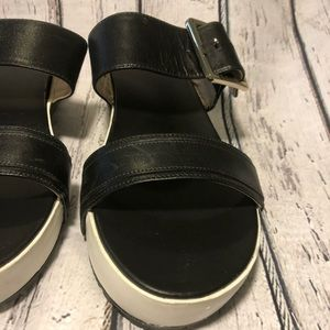 Dr. Scholl's Shoes - Dr Scholls Black White Leather Sandals Shoes 8.5